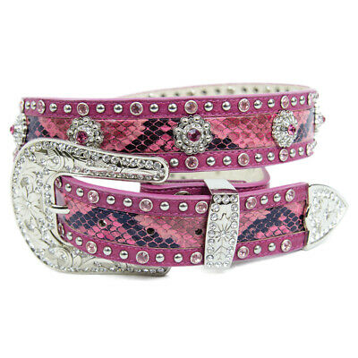 New Pink Snake Skin Pattern Leather w/floral Conchos  Belt - 332 Ladies Western