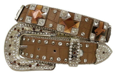 New Tan Leather - Topaz Cross Conchos - 339 Ladies Western Bling Belt Brigalow