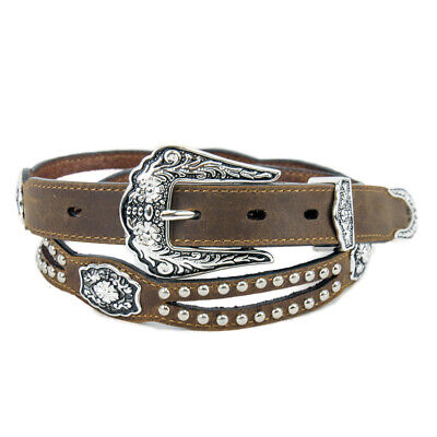 New Ladies Skinny Brown Leather - 341 Ladies Western Bling Belt Brigalow