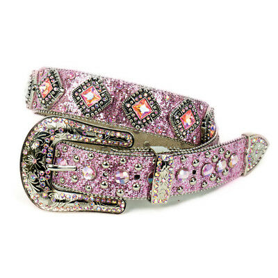 New Ladies Pink Bling on Sparkley Belt - 344 Ladies Western Bling Belt Brigalow