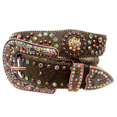 New Rainbow Conchos On Scalloped Leather - 352 Ladies Western Bling Belt Brigalo