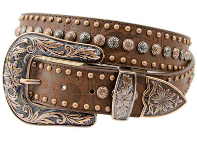 New Embossed Chocoloate Leather w/ Floral Conchos - 355 Ladies Western Bling Bel
