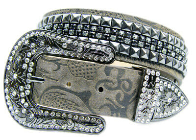 New Embossed Leather w/ Pyramid Studs - 357 Ladies Western Bling Belt Brigalow