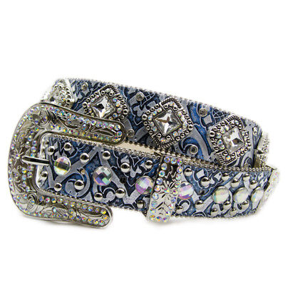 New Embossed Blue Leather w/ Extra Bling - 380 Ladies Western Bling Belt Brigalo