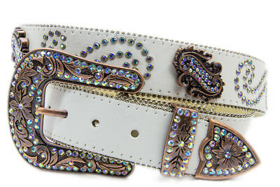 New Cream Leather w/ Rainbow Paisley Diamontes - 390 Ladies Western Bling Belt B