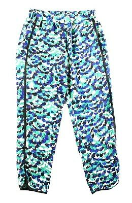 Wayf NEW Green Blue Womens Size XL Absract Print Seamed Pull-On Pants $72 465