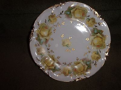 """ES Prussia Handpainted Gold Gilt Yellow Roses Garland 9 1/2"""" Cabinet Plate"""