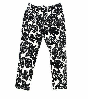 Lucca NEW Black White Womens Size Small S Floral Print Textured Pants $58 827