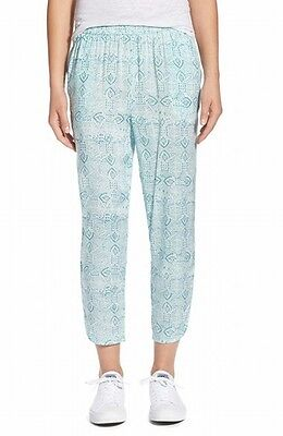 Hinge NEW Blue Women's Size Large L Printed Stretch Cropped Pants $78 781
