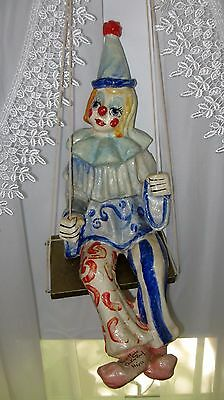 "VINTAGE HANGING CLOWN On Swing - Hand Painted PAPER MACHE - 20"" Tall - Signed"