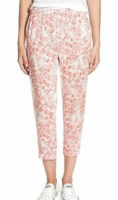 Hinge NEW Pink Womens Size Medium M Floral-Print Cropped Stretch Pants $78 792