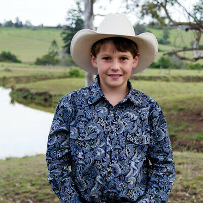 New Boys 100% Cotton Silver Blue Paisley Shirt - 8057A Boys ShirtBrigalow
