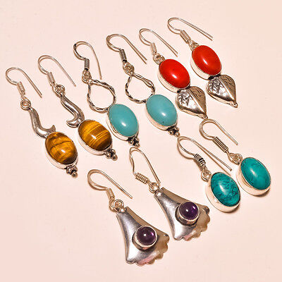"Whole Sale Mix Lot Gemstone 925 Sterling Silver 24 Gm Earring 1.25-1.75"" 5188"