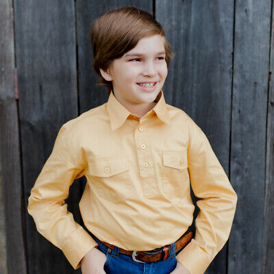 New Kids Cotton Half Placket Work Shirt - 8052-E-Sand Boys ShirtBrigalow
