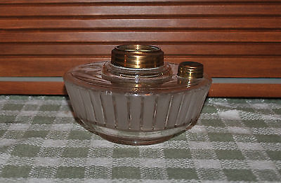 """Large Oil Lamp Font Frosted Bars Glass 1 3/4"""" Fitter"""