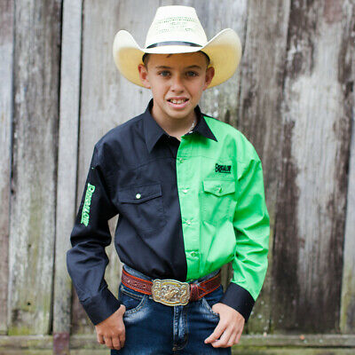 New Boys Two Tone Cotton Shirt - 8058-Y- Black/Lime Boys ShirtBrigalow