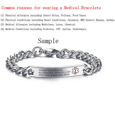 Free Engraving Name Medical Alert ID Bracelets for Women Surgical Steel Jewelry
