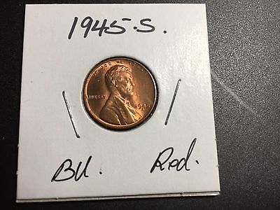 1945 S Lincoln Wheat Penny Red BU .
