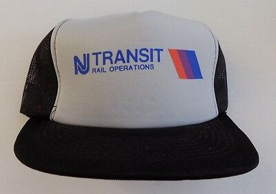 New Jersey Transit Railroad Baseball Cap Gray Black Mesh Trucker NOS RARE