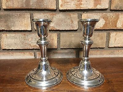 Pair-2 Sterling Silver 925 Weighted Candlesticks Candle Holders L Crown Mark 105