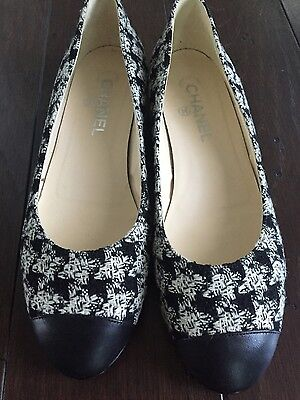 Chanel Black And White Houndtooth Cap Toe Ballet Flats Size 39