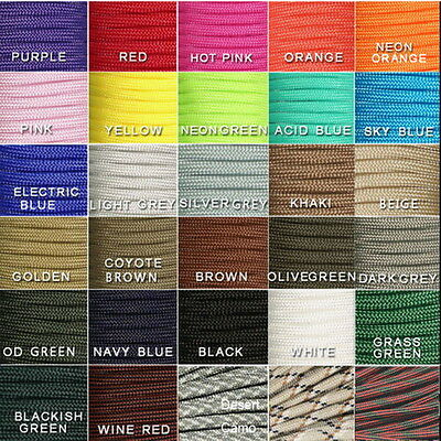 30/50/100FT 550 Paracord Parachute Cord Lanyard Mil Spec Type III 7 Strand Core