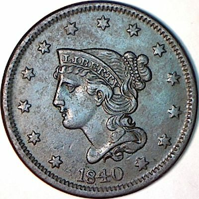 1840 Braided Hair Cent : Philadelphia USA : Large Date : Newcomb 11