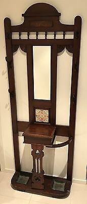 Antique Hall Stand With Mirror and Tile on Back