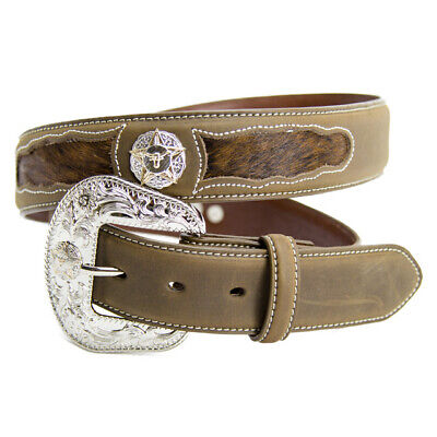 New Belt - Western - Leather - Boys - Coffee Hair On w/ Steerhead Concho - [302]