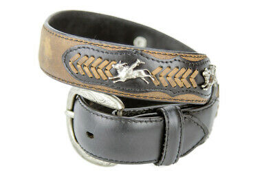 New Belt - Western - Leather - Dark Brownr w/ Bull Rider Conchos - [Code 311 ] B