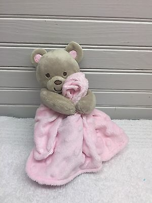 Carter's Child Of Mine Pink blanket with rattle bear attached. Baby Shower GUC