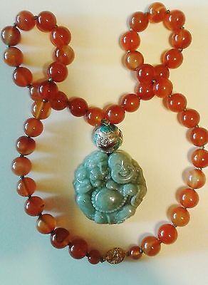 Fine vintage Chinese enamel carved jadeite,carnelian necklace,Buddha,filigree