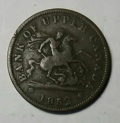 Very Nice Condition 1852 Bank of Upper Canada Large Cent One Penny