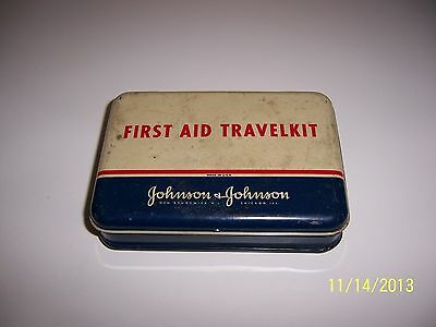 Vintage Estate Older J&J Johnson & Johnson First Aid Travel Kit Metal Tin Chicag