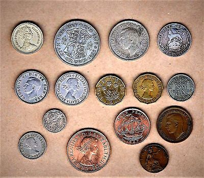 Great Britain 15 coins w/1917 Shilling), Silver (4) and B.U. coins (3)