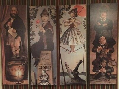 "MASSIVE Haunted Mansion Holiday Stretching Room Gallery set (all4) 16x48"" HTF"