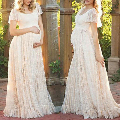 Pregnant Women's Lace Maternity Dress Maxi Gown Photography Photo Shoot Clothes