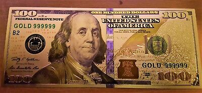 24K .999 Pure Gold Colorized $100 Dollar Bill Bank Note - Brand New Condition!