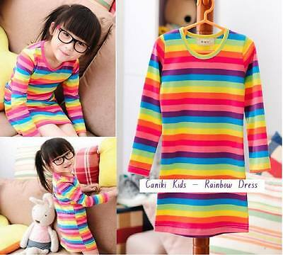New with tags gorgeous girls rainbow stripe long sleeve dress size 2 3 4 5 6