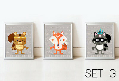 SET3 TRIBAL Nursery Prints Woodland Wall Art Modern Cute Room Decor Illustration