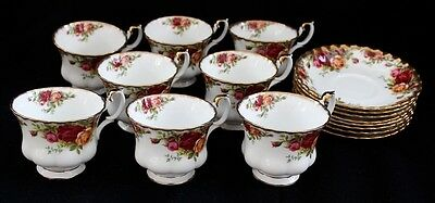 8 Royal Albert Old Country Rose Cup And Saucer Sets First Quality England