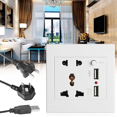 Socket+2 USB+Switch Wall Socket Charger AC/DC Power Adapter Plug Outlet Panel