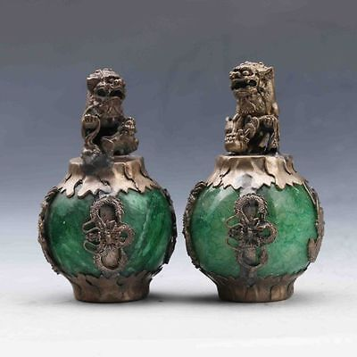 A Pair Collectable Green Jade Armor Tibetan Silver Hand-carve Lion Statue