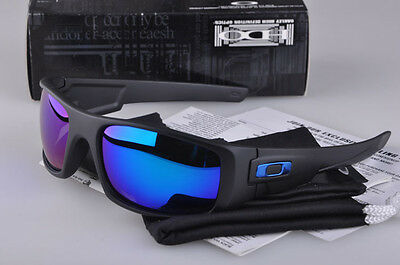 Crankshaft1Polarized*Sunglasses Matte Black/Blue Mercury Iridium!~