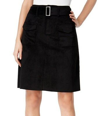 Catherine Malandrino NEW Black Womens Size 8 Faux-Suede A-Line Skirt $118 536