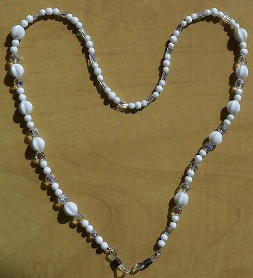 Eyeglass Sunglass Chain Holder White, Clear & Crystal  Beads - Hand Crafted