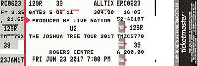 1 Ticket U2 & The Lumineers 6/23/17 Rogers Centre Section 129R Row 39