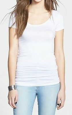 Frenchi NEW White Size Small S Junior Scoop Neck Short Sleeve Tee T-Shirt 684