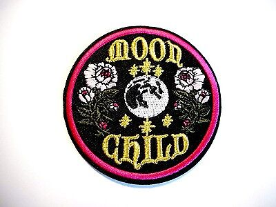 1x Moon Child Hippie Patches Embroidered Cloth Applique Badge Iron Sew On Punk