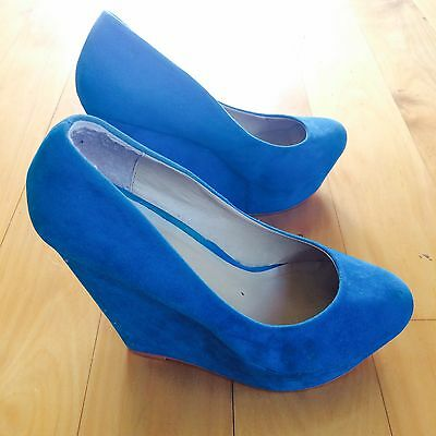 Novo Wedge High Heel Aqua Blue Size 40
